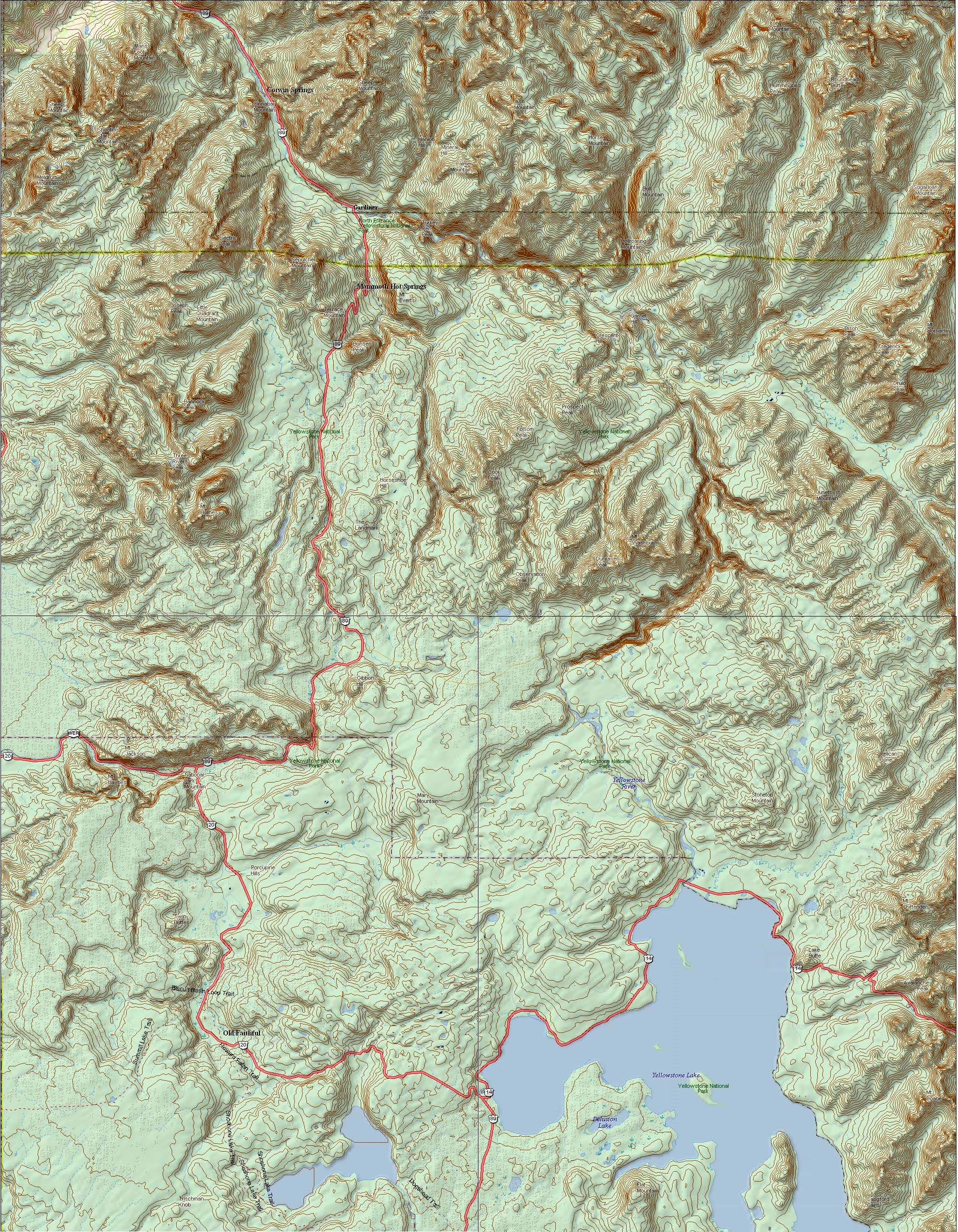 Yellowstone National Park Topo Map